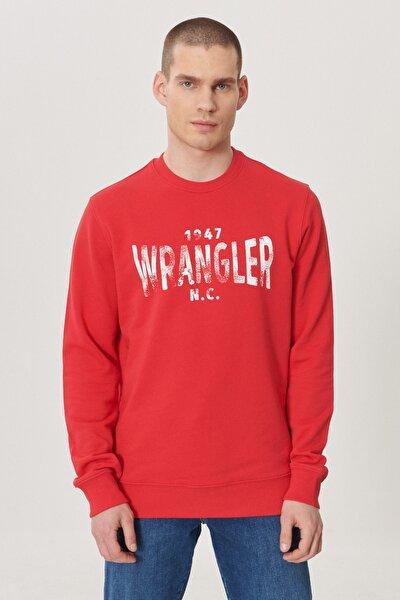 Erkek Kırmızı Regular Fit Bisiklet Yaka Sweatshirt
