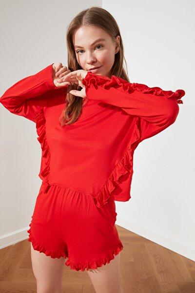Kırmızı Fırfırlı Örme Pijama Takımı THMSS21PT0571
