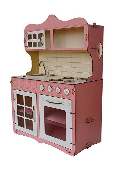 Mini Ahşap Çocuk Oyun Mutfağı Tezgah Dolap Seti Evcilik Oyunu Oyuncak Pembe Mutfak 65 cm