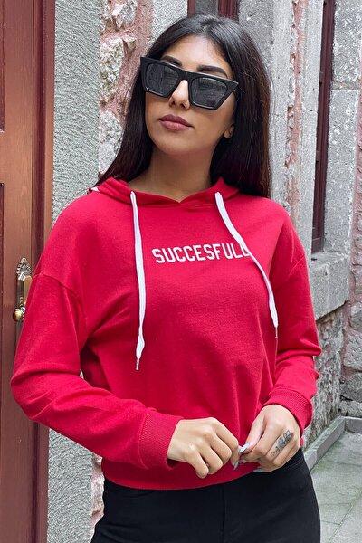 Kadın Kırmızı Succesfull Baskılı Kapüşonlu Sweatshirt