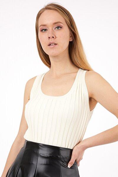 Kadın Krem Askılı Triko Yazlık Bluz
