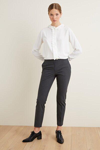 Kadın Antrasit Çizgili Dar Paça Pantolon