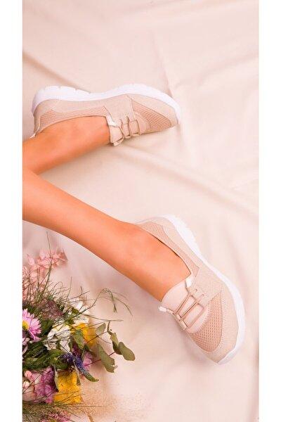 Kadın Ortopedik Bej Renk Spor Babet Ayakkabı