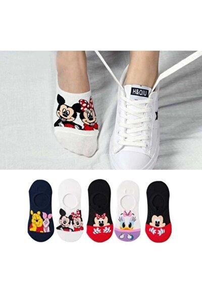 5 Çift Kadın Çok Renkli Görünmez (SNEAKER) Spor Ayakkabı Çorabı