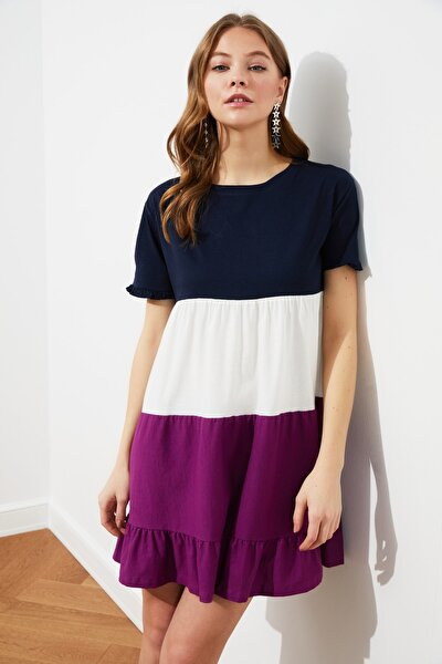 Lacivert Renk Bloklu Örme Elbise TWOSS20EL1638