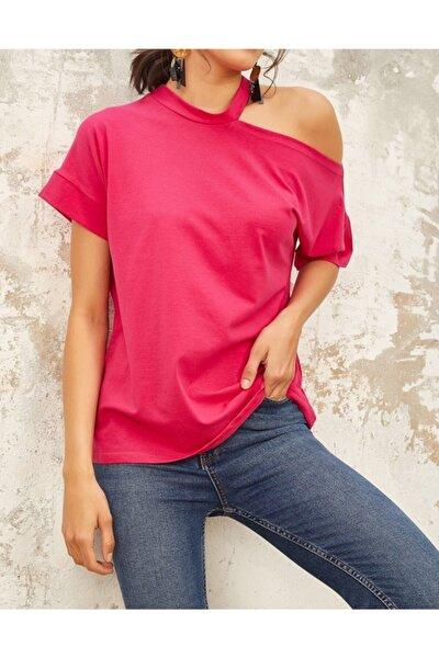 Kadın Fuşya Omuz Detaylı T-shirt