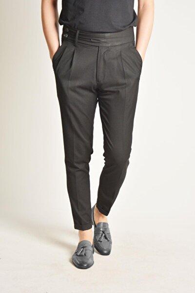 Erkek Siyah Çift Dilli Çift Pileli Italyan Kesim  Pantolon