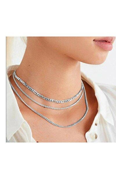 Kadın Gümüş Yaldız Zincir Seti