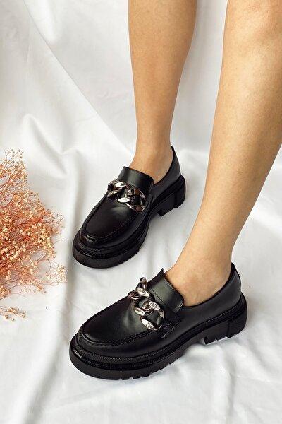 Siyah Cilt Terry Zincir Detaylı Oxford Ayakkabı