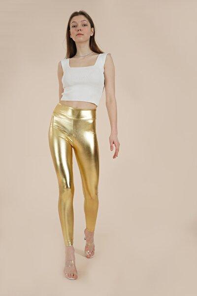Kadın Altın Parlak Disco Tayt