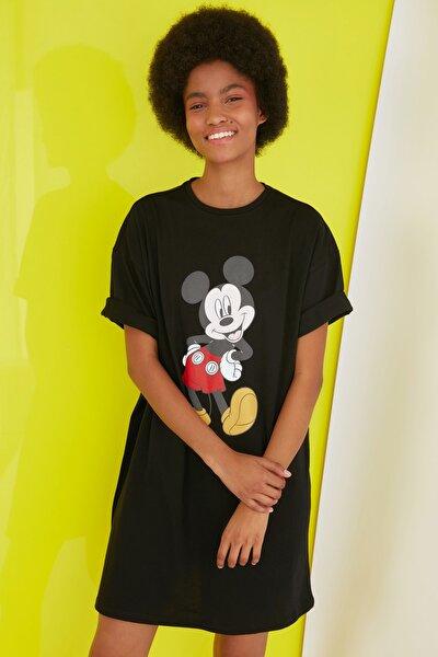 Siyah Mickey Mouse Lisanslı Baskılı Örme Elbise TWOSS21EL0103