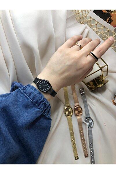 Retro Minimal Çelik Hasır Kordon Kadın Kol Saati - Siyah
