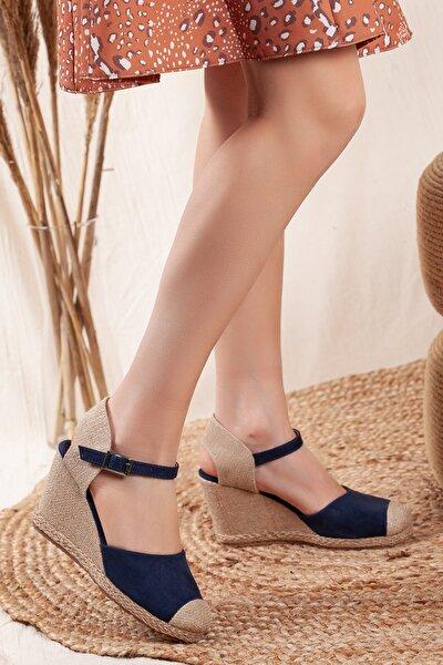Kadın Lacivert Süet Dolgu Topuklu Ayakkabı