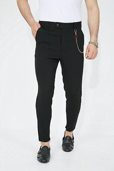 Siyah Paça Fermuarlı Likralı Slimfit Erkek Pantolon - Slım Fıt