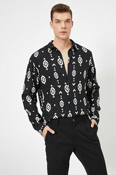 Erkek Siyah Baskılı Gömlek 0yam64197ow