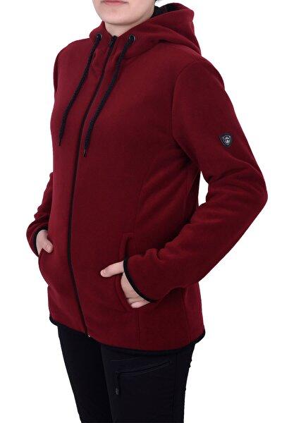 Kadın Bordo Kapşonlu Fermuarlı Polar Sweatshirt