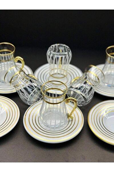 Çay Takımı 12 Parça Özel Tasarım Gold Kulplu