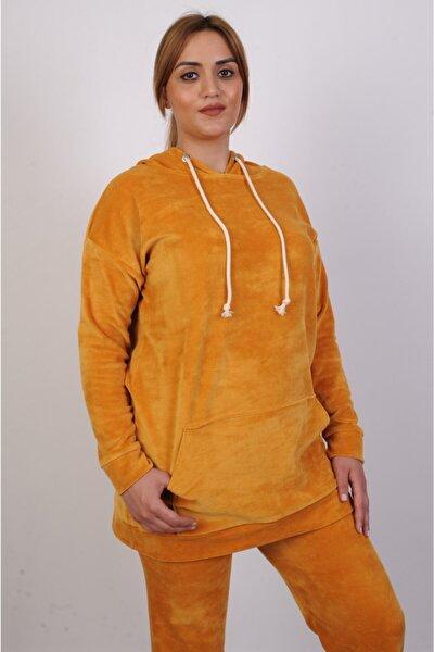 Kadın Hardal Sarısı Kapüşonlu Likralı Kadife Sweatshirt Ve Kadife Alt Ikili Takım