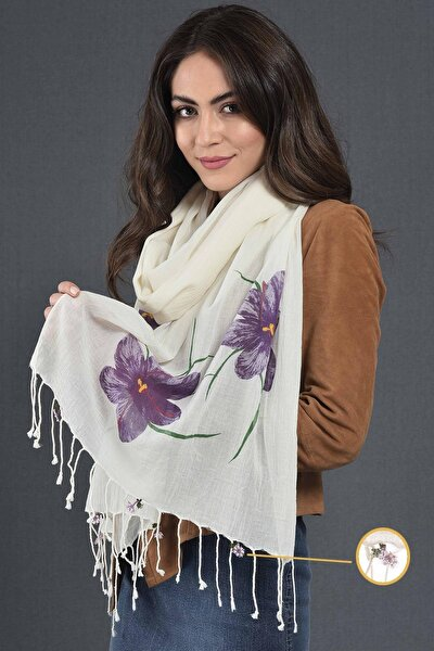Kadın Safran Çiçeği İğne Oyalı Baskılı Pamuklu Fular