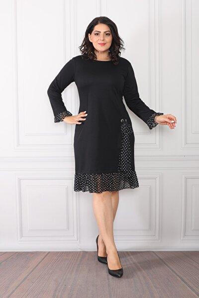 Kadın Siyah Etek Ucu Puantiye Desenli Elbise