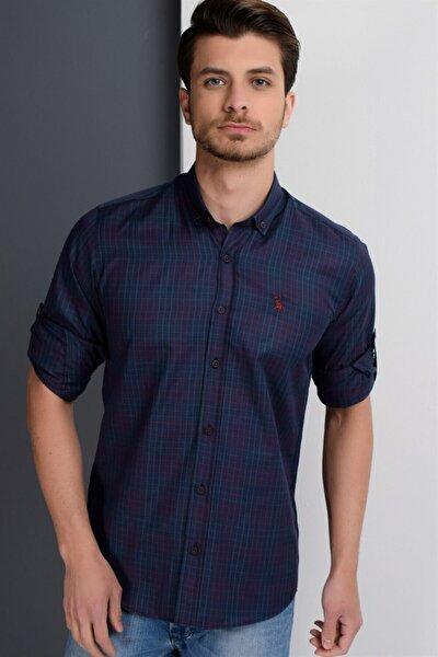 Erkek Lacivert- Bordo Gömlek - 10500010G650