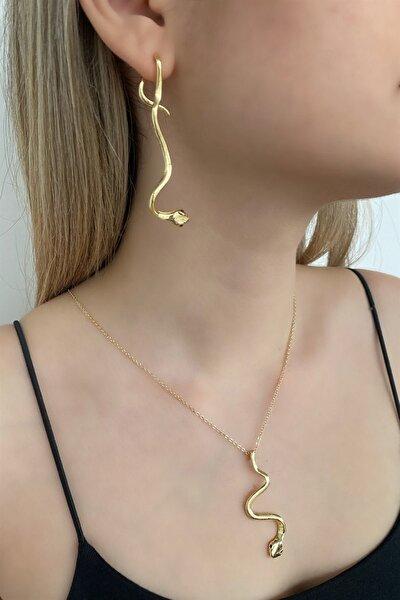 Kadın Altın Renk Yılan Figürlü Kolye Küpe Seti