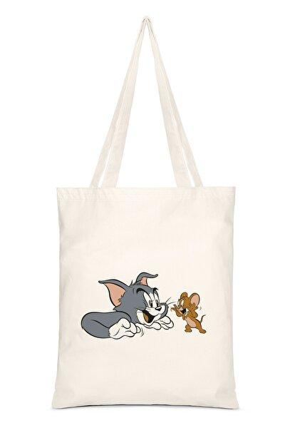 Tom Ve Jerry Baskılı Bez Çanta