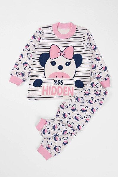 Bebek Pijama Takımı Panda Baskılı  6-12 Ay Pembe
