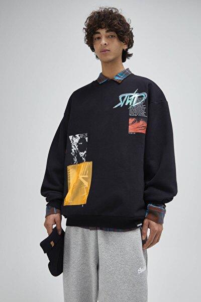 Erkek Siyah Kontrast Detaylı Sweatshirt