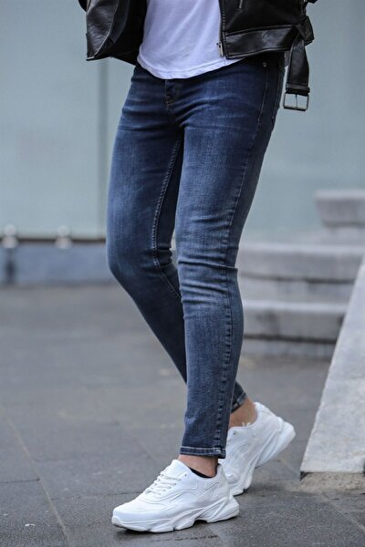Erkek Lacivert Slim Fit Jean 022
