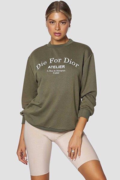 Kadın Haki Baskılı Sweatshirt Mg775