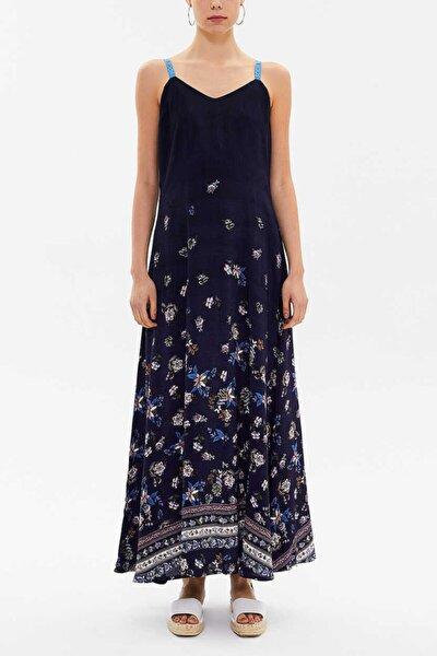 Kadın Lacivert Kristal Taşlı Kolsuz Elbise 92849