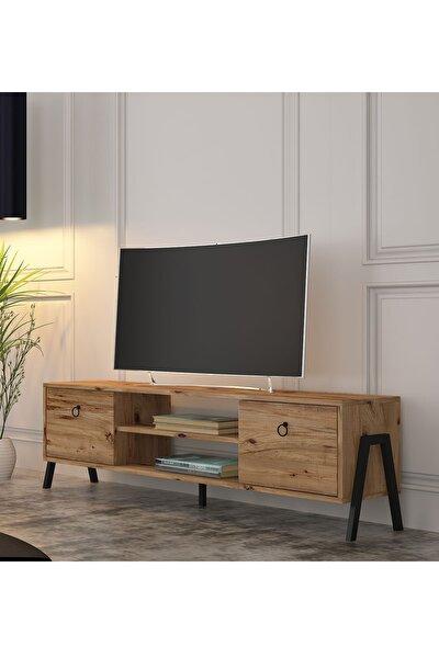 Loft Tv Ünitesi 150 Cm Metal Ayaklı Atlantik Çam