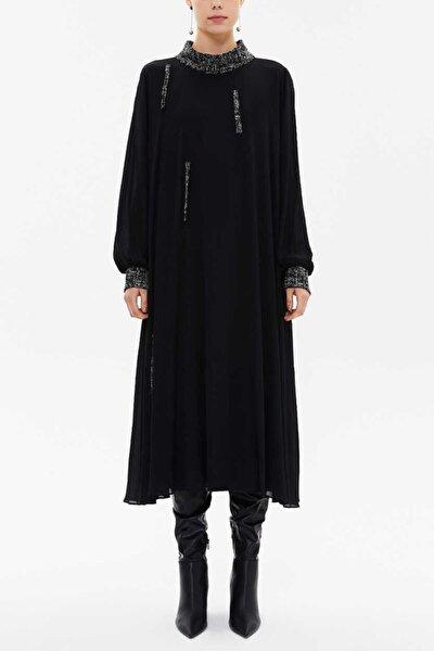 - Kırmızı Biyeli Detaylı Elbise 93054 Siyah