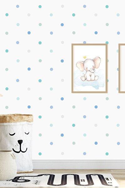 Mavi 204 Adet Yuvarlak Duvar Stickerı