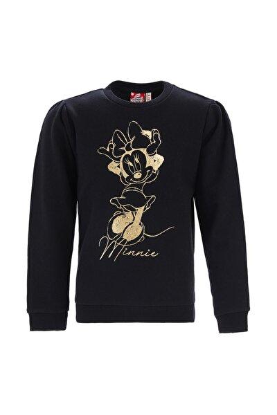 Kız Çocuk Siyah Minnie Mouse Lisanslı Sweatshirt
