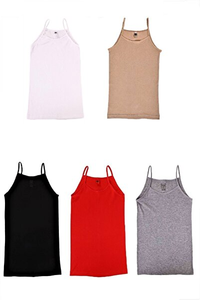 Kadın Karışık Renk İp Askılı Pamuk Atlet 5 Adet
