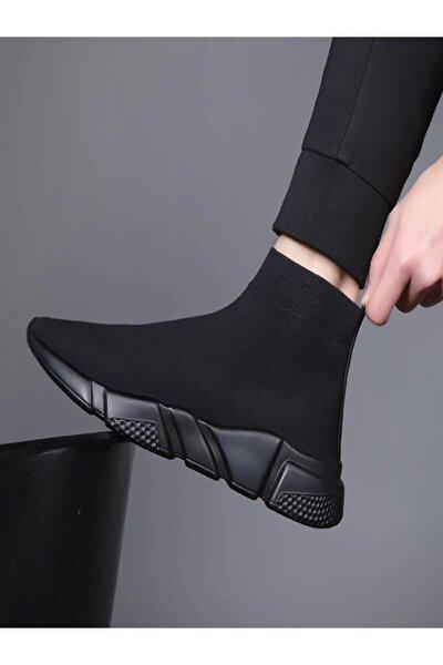 Unisex Siyah Çoraplı Yüksek Taban Sneakers Ayakkabı