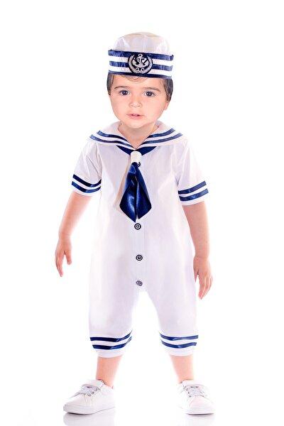Erkek Bebek Beyaz Yazlık  Denizci Bahriyeli Tulum Kostüm