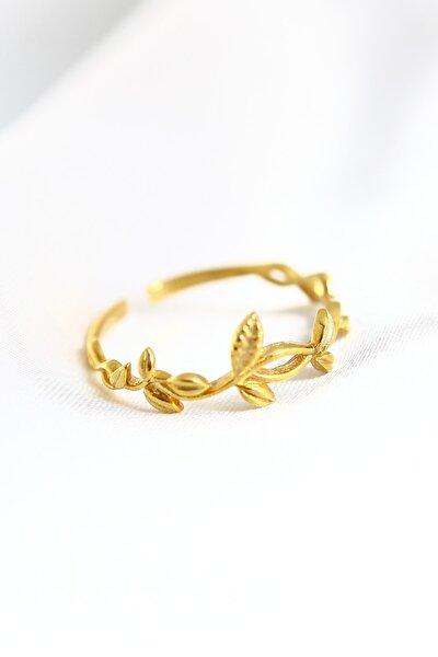 Kadın 14k Altın Kaplama Aşk Sarmaşığı Ayarlanabilir  Yüzük