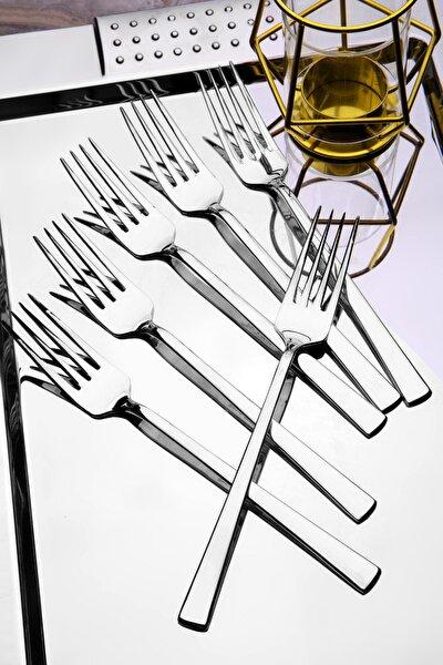 6 adet Lüx Titanyum Gümüş Yemek Çatal Seti