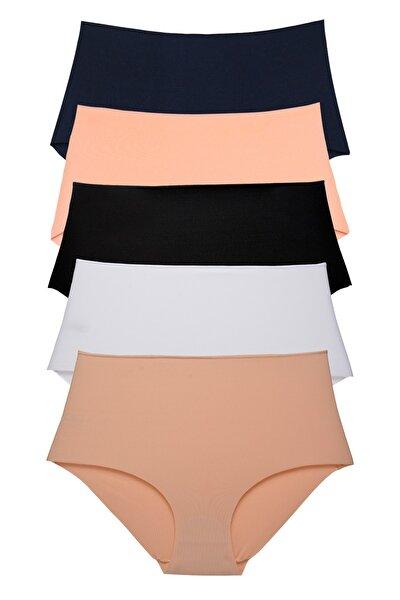 Kadın Yüksek Bel Lazer Kesim Karışık Renk 5 Li Paket