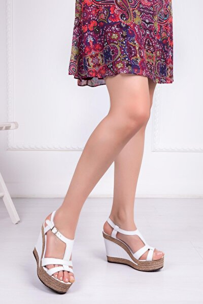 Hakiki Deri Beyaz Kadın Dolgu Topuklu Deri Sandalet Dp42-0700