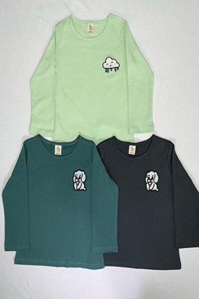 3lü Takım Nakış Detaylı Bebek Body-f.yeşil-antrasit-haki