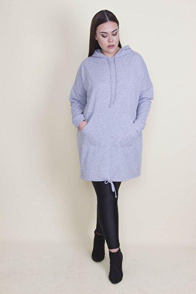 Kadın Gri Kapşonlu Kanguru Cepli Sweatshirt 65N21332