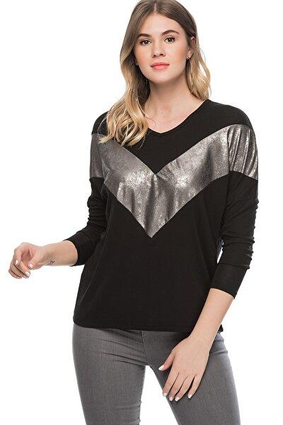 Kadın Siyah Viskon Gümüş Bloglu Tunik 65N21205