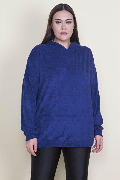 Kadın Saks Kapşonlu Sweatshirt     65N21331