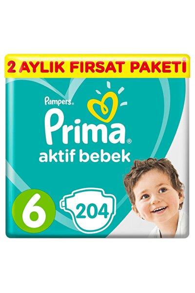 Unisex Bebek Bezi Aktif Bebek 6 Beden Ektra Large 2 Aylık Fırsat Paketi 204'lü