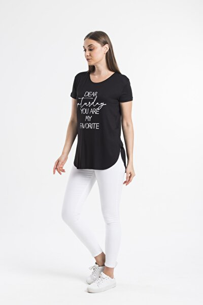 Kadın Siyah Baskılı Eteği Oval T-Shirt