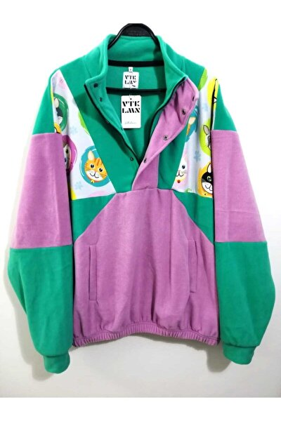 Unisex Yeşil Lila Yarım Fermuarlı Polar Sweatshirt